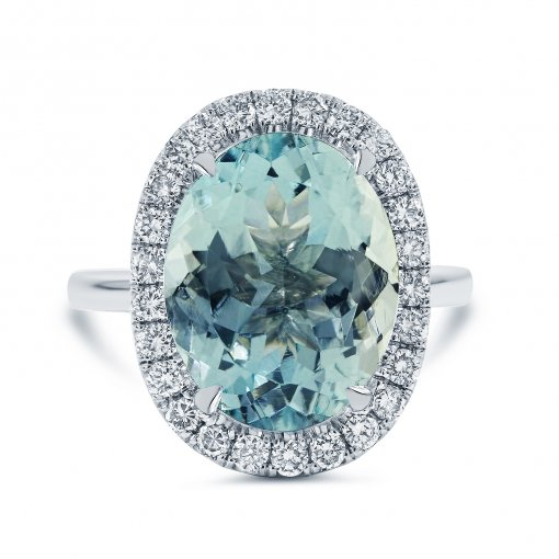 6.12ctw Turquoise Oval Cut Aquamarine Gemstone Diamond Engagement Ring