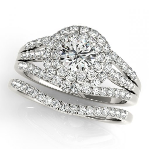 Three Row Split Shank Bezel Double Halo Diamond Pave Engagement Ring in White Gold (0.65 CTW)