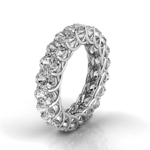 8 TCW Oval Diamond Trellis Set Eternity Band in White Gold (G-H COLOR, VS2-SI1 CLARITY)