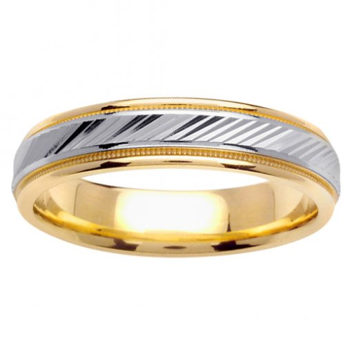 Two Tone Gold Diamond Cut Etched Milgrain Wedding Ring 4mm