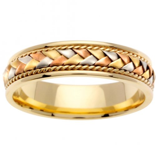 Tri-Color Gold Cord and Braided Wedding Band 5mm