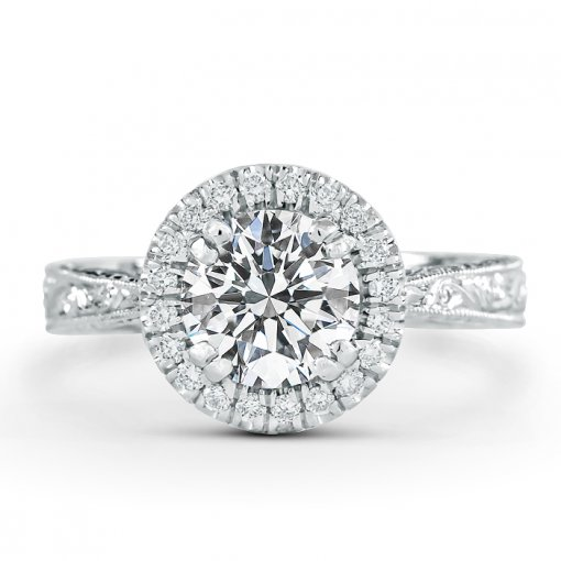 1.73ct GIA Round 14K White Gold Halo Engagement Ring K/SI2 (1199108537)