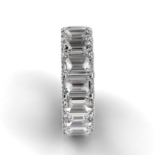 9 TCW Emerald Diamond U-Shape Pave Set Eternity Band in White Gold (H-I COLOR, VS2-SI1 CLARITY)