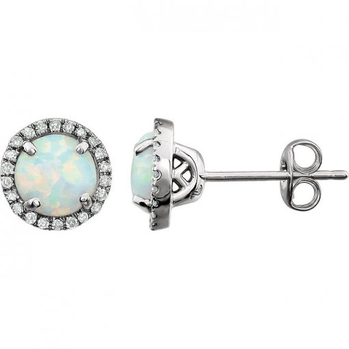 0.125ct Round 14kt White Created Opal Diamond Earrings