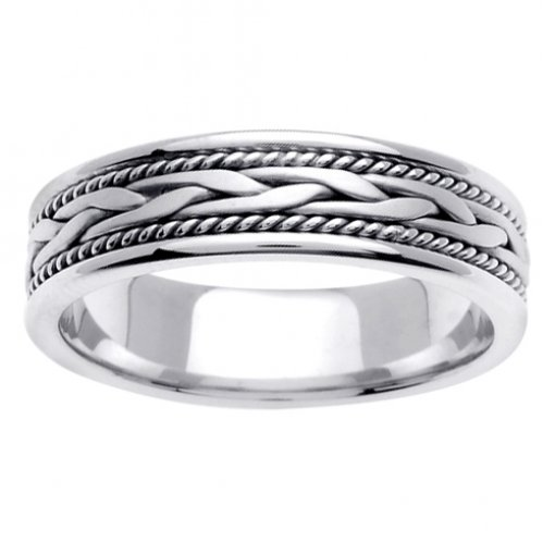 White Gold Cord and Wheat Braid Wedding Band 5mm