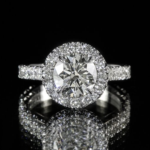 2.61ct GIA Round 18K White Gold Halo U Shape Pave Engagement Ring H/SI1