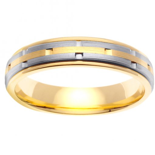 Two Tone Gold 3 Row Brick Matte Wedding Band 4mm