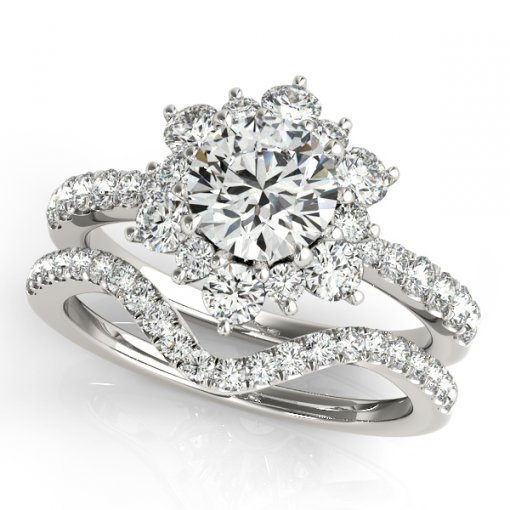 Round Flower Halo Vintage Inspired Engagement Ring in White Gold (0.85 CTW)