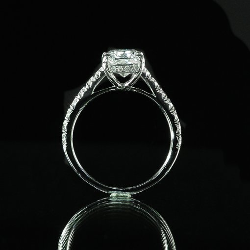 2.66ct GIA Cushion 18K White Gold French Pave Engagement Ring F/SI1