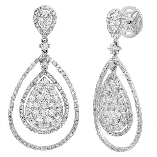 2.13CT  Round 14KW 2.13Tw Diamond (-G-H/SI3-I1) Dangle Earr. G-H/SI3-I1 ()