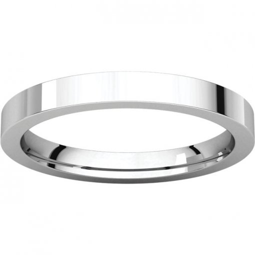 14K White Gold 2.5mm Comfort Flat Classic Wedding Band