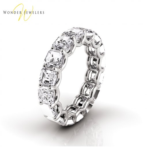 6.5 TCW Asscher Diamond U-Prong Set Eternity Band in Platinum (G-H COLOR, VS2-SI1 CLARITY)