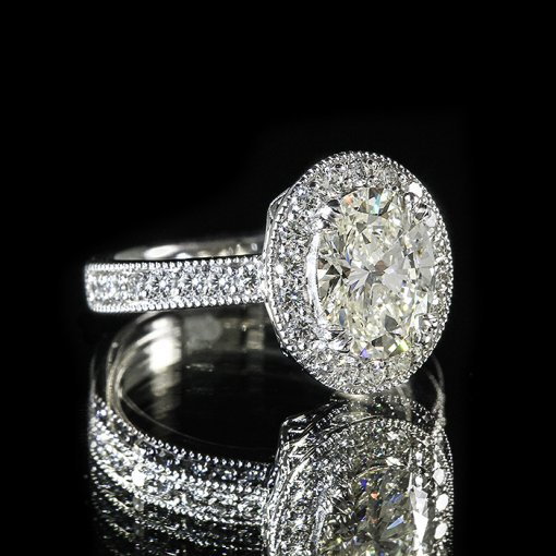3.41ct GIA Oval 18K White Gold Pave Diamond Halo Engagement Ring H/SI1