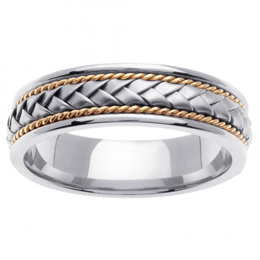 Two Tone Gold Braid & Cord inlay Wedding Ring 5mm