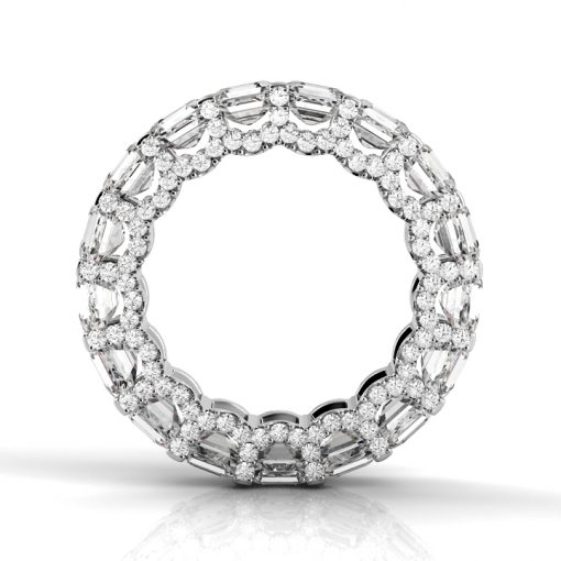 6 TCW Asscher Diamond U-Shape Pave Set Eternity Band in White Gold (F-G COLOR, VS2 CLARITY)