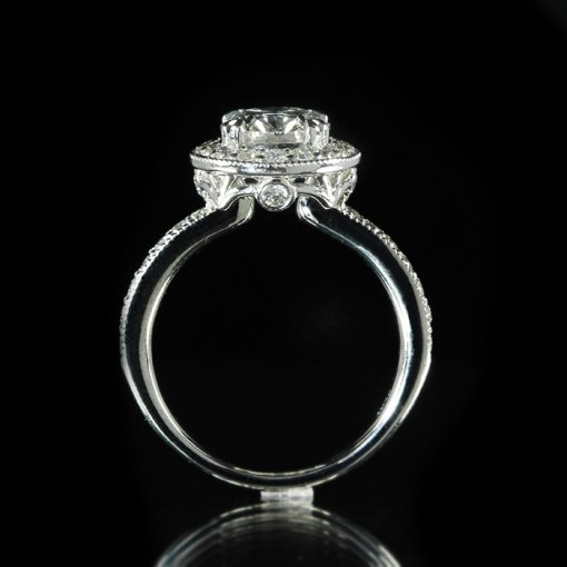 3.91ct GIA Oval 18K White Gold Pave Diamond Halo Engagement Ring F/SI1
