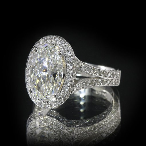 3.26ct GIA  18K White Gold Oval Cut Diamond Engagement Ring F/VS2