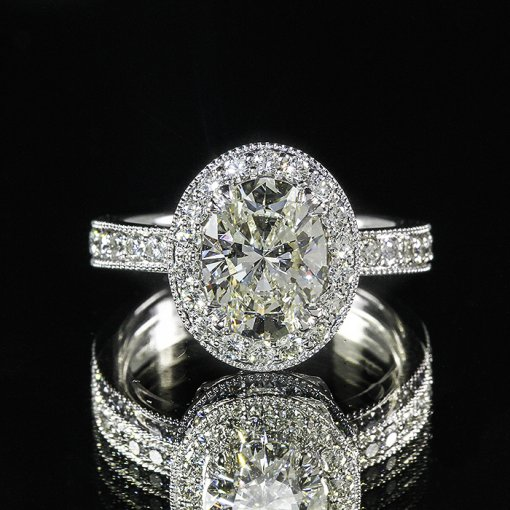 2.93ct GIA Oval 18K White Gold Pave Diamond Halo Engagement Ring I/VS1