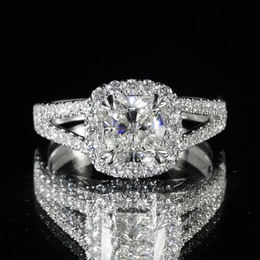 1.88ct GIA Round 18K Gold Split Shank Diamond Halo Engagement Ring I/VVS2