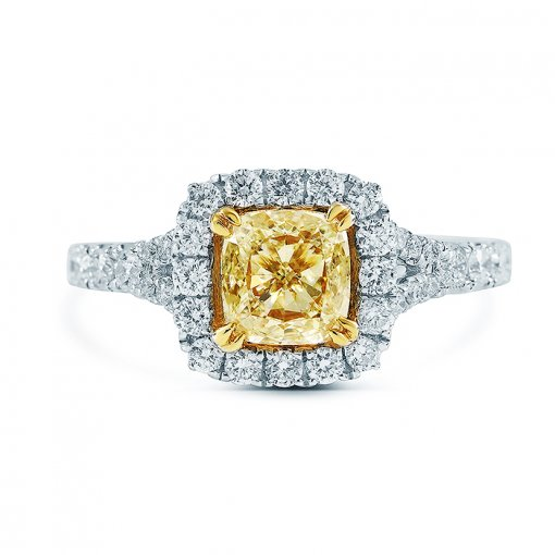 1.63ctw Fancy Yellow Cushion Cut Diamond Engagement Ring VS2 EGL USA