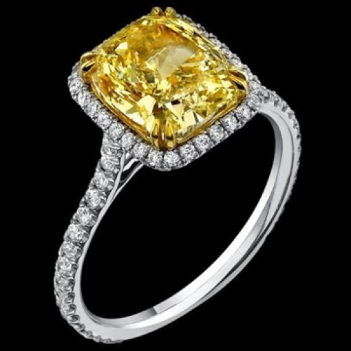 3ct GIA Cushion 18K Pave Diamond Halo Engagement Ring Fancy/SI2