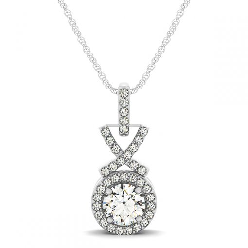 X & O Diamond Pave Set Halo Pendant CTW0.425