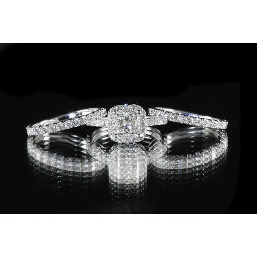 3.00ct GIA Princess 18K Gold 3 Piece Halo Pave Wedding Ring Set F/VS2