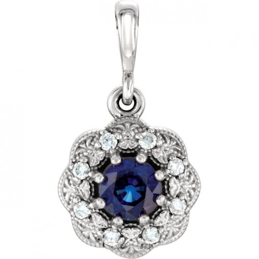 Genuine Blue Sapphire & Diamond Pendant in 14K White Gold