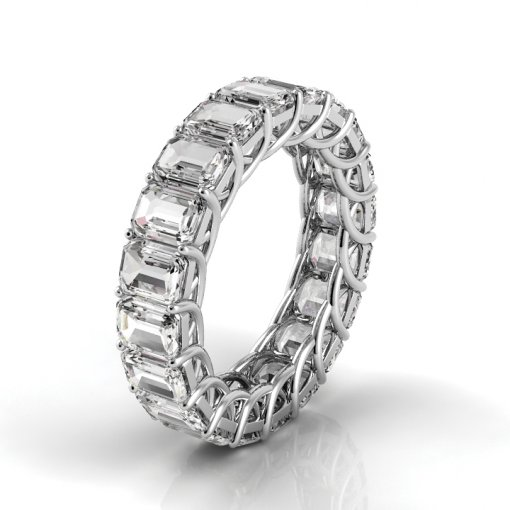 4.5 TCW Emerald Diamond Trellis Set Eternity Band in White Gold (H-I COLOR, VS2-SI1 CLARITY)