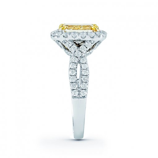 3.89ct EGL Cushion 18K White Gold Engagement Ring Fancy Yellow/VS2 (904398250)