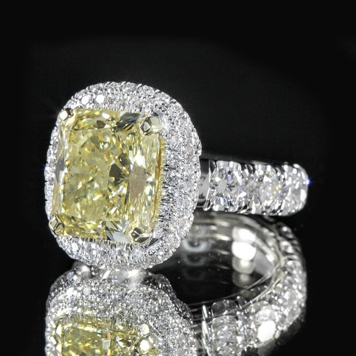 7.66ct GIA Radiant 18K Pave Flower Halo Engagement Ring Fancy/SI1