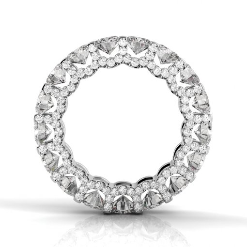 3 TCW Round Diamond U-Shape Pave Set Eternity Band in White Gold (F-G COLOR, VS2 CLARITY)