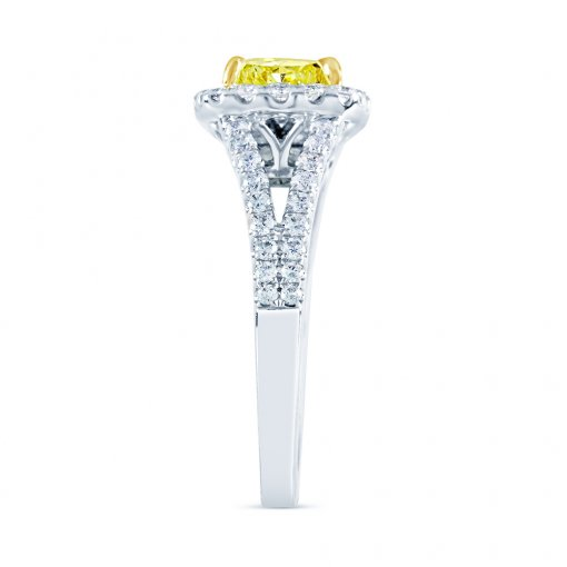 2.26ct GIA Cushion 14K White Gold Halo Engagement Ring Fancy Yellow/ (1102512537)