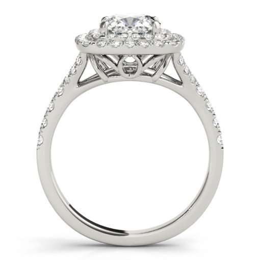 Double Diamond Pave Halo Split Shank Engagement Ring in White Gold (0.45 CTW)