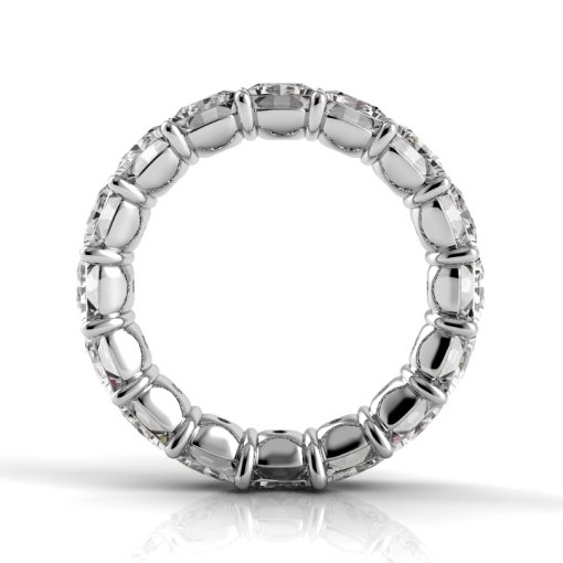 7.5 TCW Princess Diamond Petite Prong Set Eternity Band in Platinum (G-H COLOR, VS2-SI1 CLARITY)