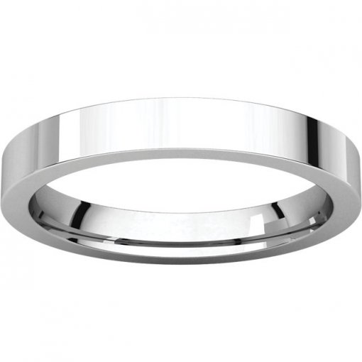 14K White Gold 3mm Comfort Flat Classic Wedding Band