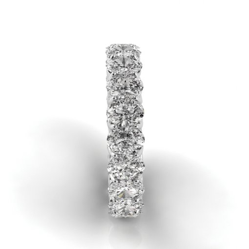 4.5 TCW Oval Diamond Trellis Set Eternity Band in White Gold (G-H COLOR, VS2-SI1 CLARITY)