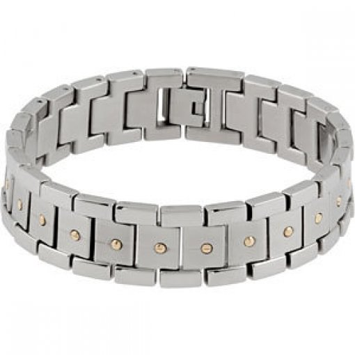 Stainless Steel Bracelet with 14kt Yellow Screws