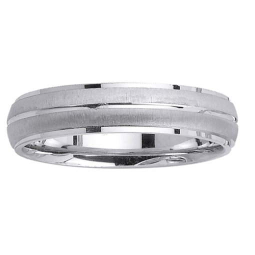 White Gold Grooved Textured Polished Edge Wedding Ring 4mm