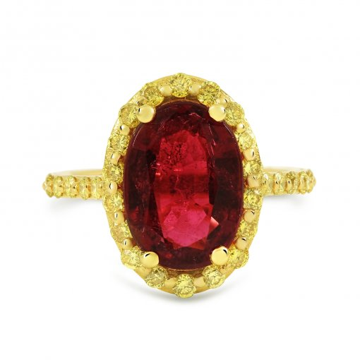 3.92ctw Red Oval Cut Rubelite Gemstone Engagement Ring