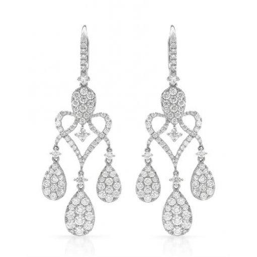 3.93CT  Round 18KW 3.93CTW (G/Vs) Dangle Earrings G/Vs2-SI1 ()