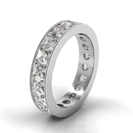 4 TCW Princess Diamond Channel Set Eternity Band in White Gold (F-G COLOR, VS2 CLARITY)