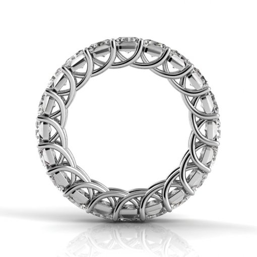 6 TCW Princess Diamond Trellis Set Eternity Band in White Gold (F-G COLOR, VS2 CLARITY)