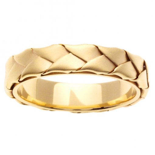 Yellow Gold Wide Weave Hand Braided Wedding Band 4mm