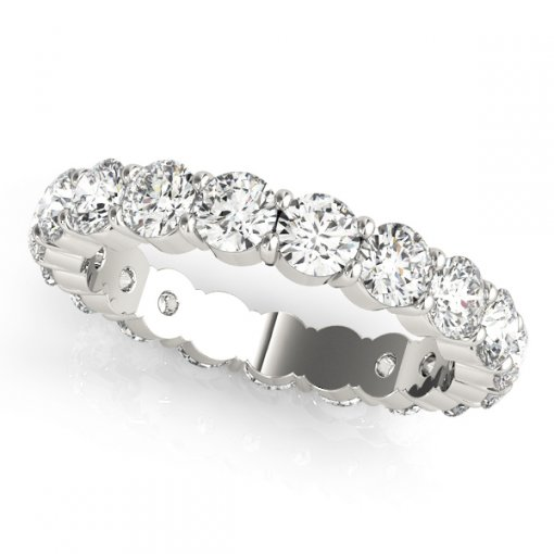 0.6 TCW Round Diamond Double Prong Set Eternity Band in Platinum (G-H COLOR, VS2-SI1 CLARITY)