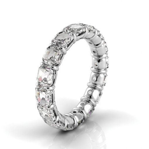 2.5 TCW Asscher Diamond Petite Prong Set Eternity Band in White Gold (G-H COLOR, SI1 CLARITY)