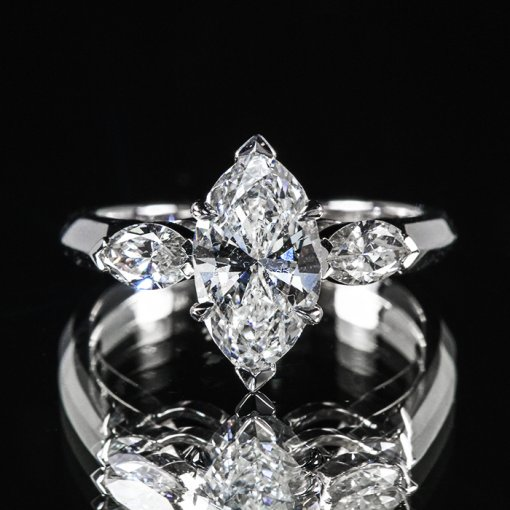 3.81ct GIA Marquise Three Stone 18K White Gold Engagement Ring F/SI1