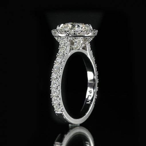 3.64ct GIA Round 18K White Gold Halo U Shape Pave Engagement Ring F/SI1