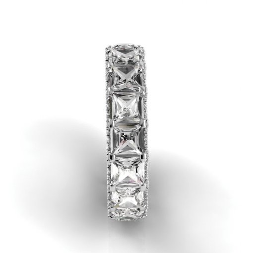 7 TCW Princess Diamond U-Shape Pave Set Eternity Band in White Gold (F-G COLOR, VS2 CLARITY)