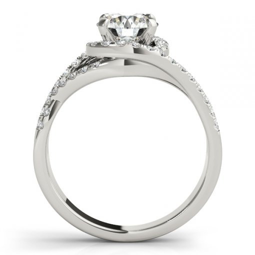 Three Row Split Twist Shank Halo Engagement Ring in White Gold (0.4 CTW)
